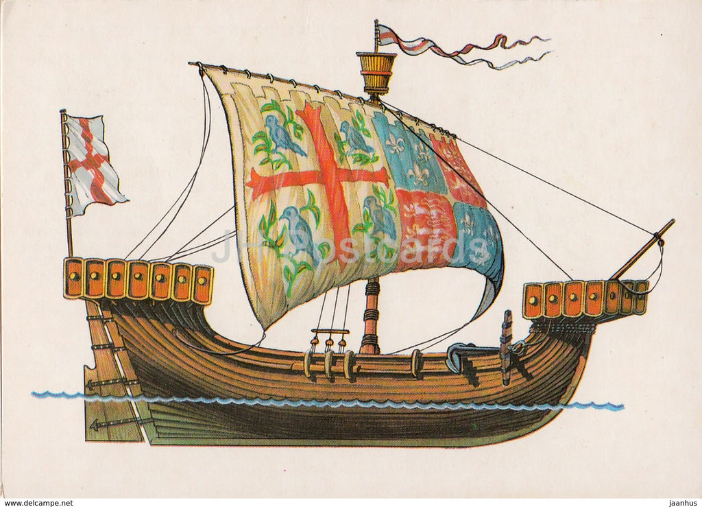 merchant ship of England - illustration - 1986 - Russia USSR - unused - JH Postcards
