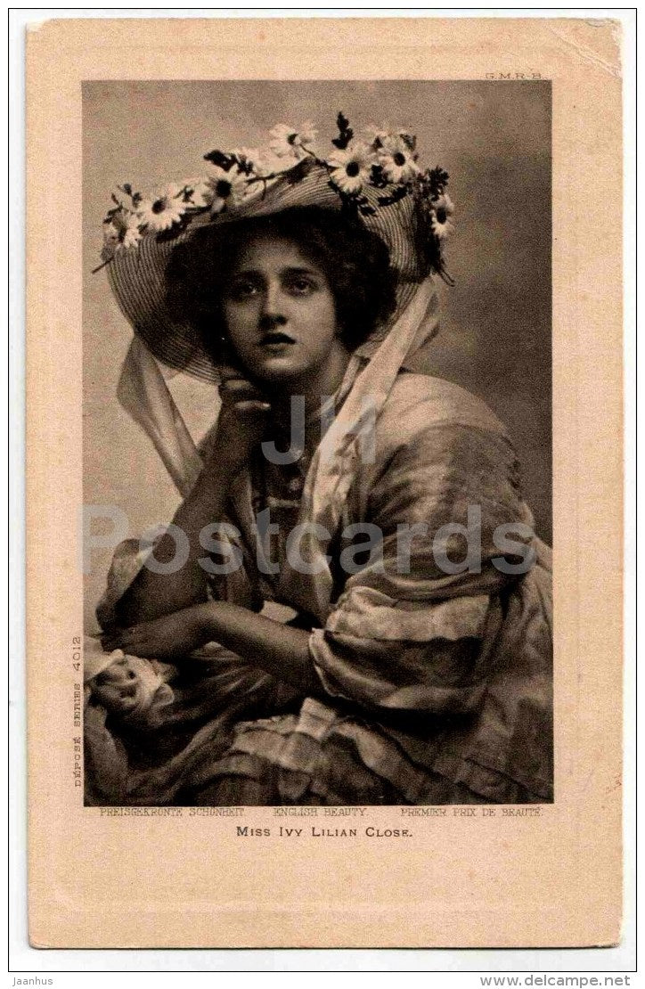 miss Ivy Lilian Close - English Beauty - hat -  4012 - old postcard - Germany - used - JH Postcards