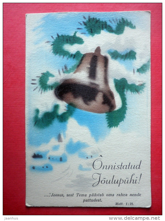 christmas greeting card - christmas bell - winter - circulated in Estonia 1930s - JH Postcards
