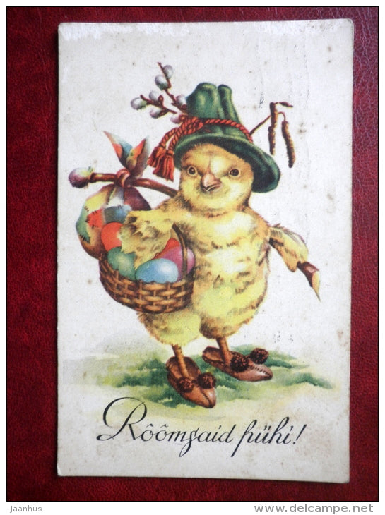 Easter Greeting Card - chicken - eggs - circulated in 1937 - Estonia - used - JH Postcards