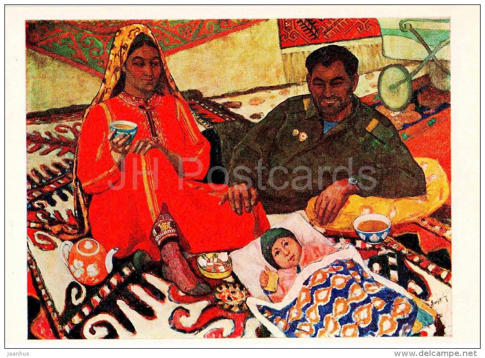 painting by Y. Annanurov - The Family , 1965 - woman and man - child - military man - tea - turkmenian art - unused - JH Postcards