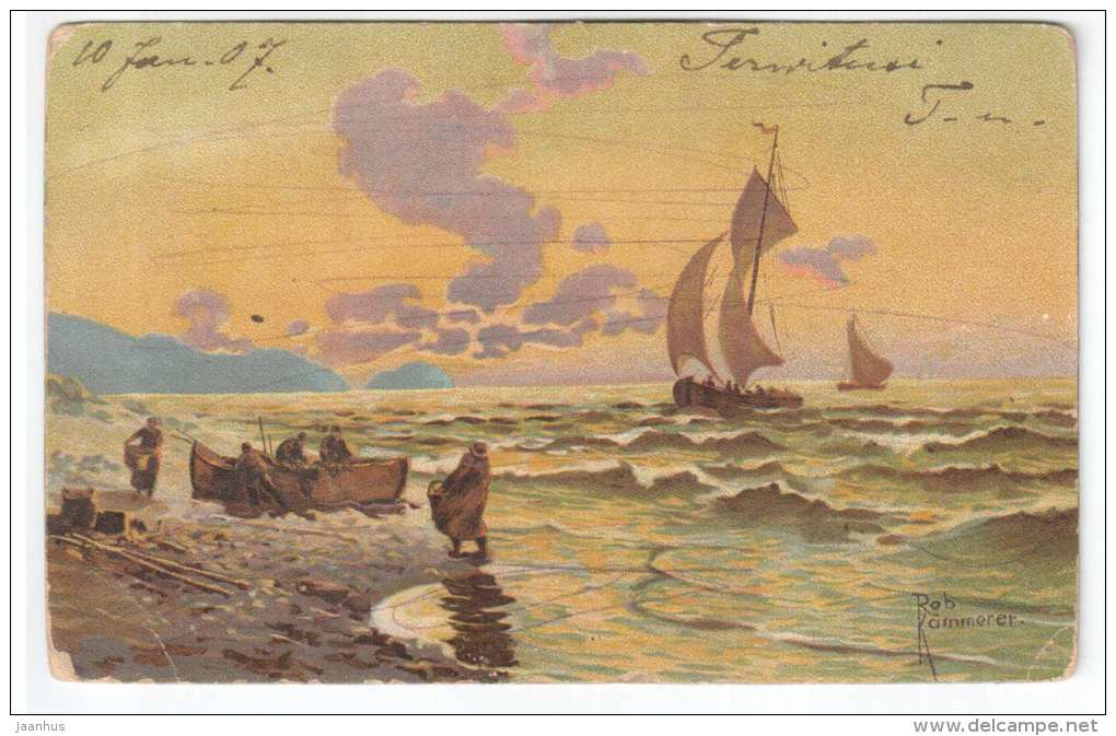 Illustration by Rob Kärnmerer - sailing boat - sea - old postcard - circulated in Tsarist Russia Estonia 1907 - used - JH Postcards