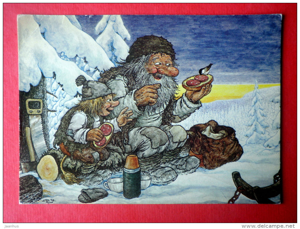 illustration by Rolf Lidberg - The Lumberers - Sweden - sent from Finland Turku to Estonia USSR 1982 - JH Postcards