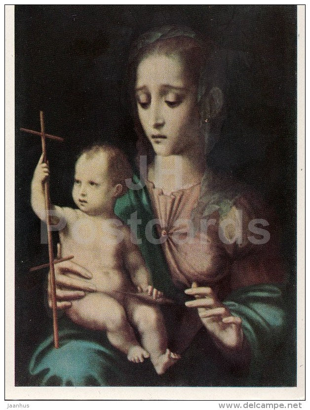 painting by Luis de Morales - Madonna with Child - Spanish Art - 1963 - Russia USSR - unused - JH Postcards