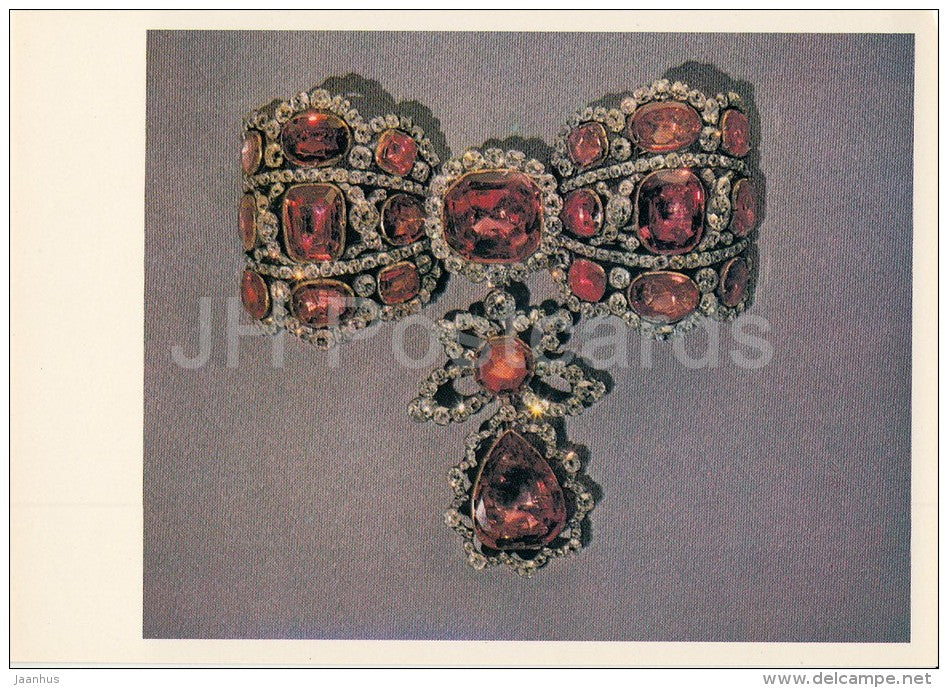 Esclavage Bow - brilliants , spinels , gold , silver - Diamond Fund of Russia - 1981 - Russia USSR - unused - JH Postcards