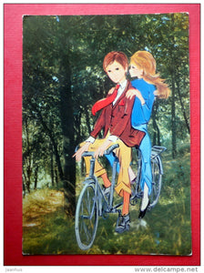 illustration - boy and girl - bicycle - 1728/2 - Italy - circulated in Finland 1979 - JH Postcards