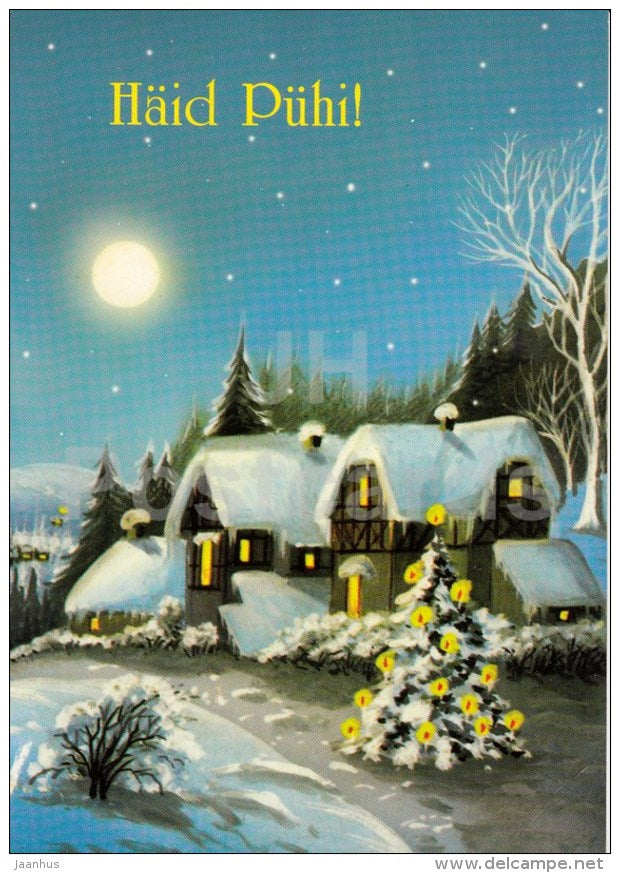 Christmas greeting card - illustration - winter - town - Estonia - used - JH Postcards