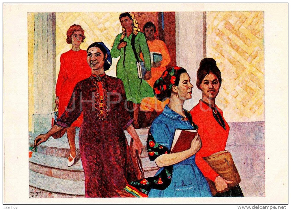 painting by Y. Annanurov - Girls of my country , 1965 - turkmenian art - unused - JH Postcards