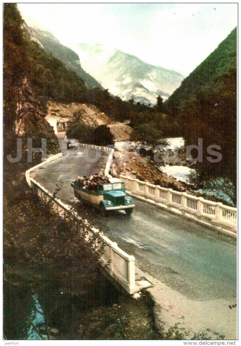 motor route to lake Ritsa - truck - Abkhazia - Georgia USSR - unused - JH Postcards