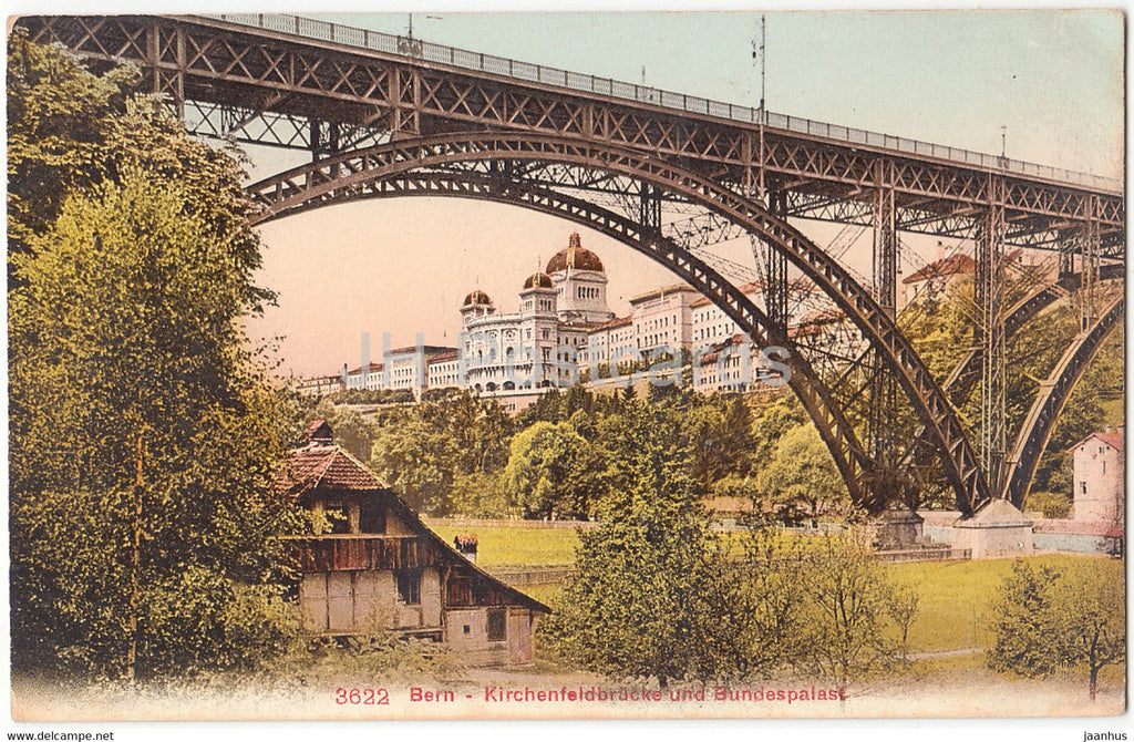 Bern - Berne - Kirchenfeldbrucke und Bundespalast - 3622 - old postcard - Switzerland - unused - JH Postcards