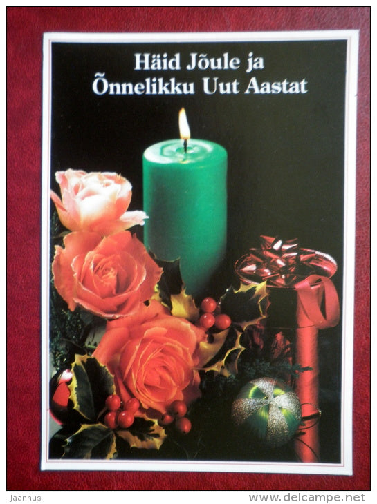 New Year and Christmas Greeting card - candle - roses - decorations - Estonia USSR - used - JH Postcards