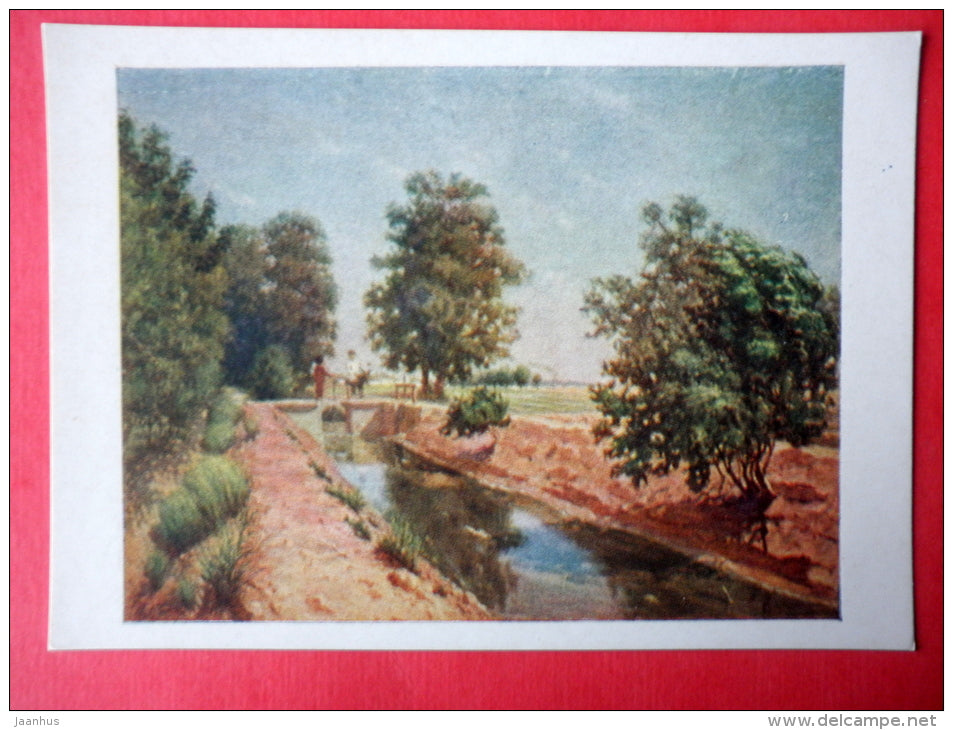 painting by P. Korolyev - Aryk Landscape in Turkmenistan - russian art - unused - JH Postcards