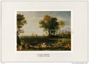 painting by Claude Lorrain - The Rape of Europa , 1655 - French Art - 1983 - Russia USSR - unused - JH Postcards