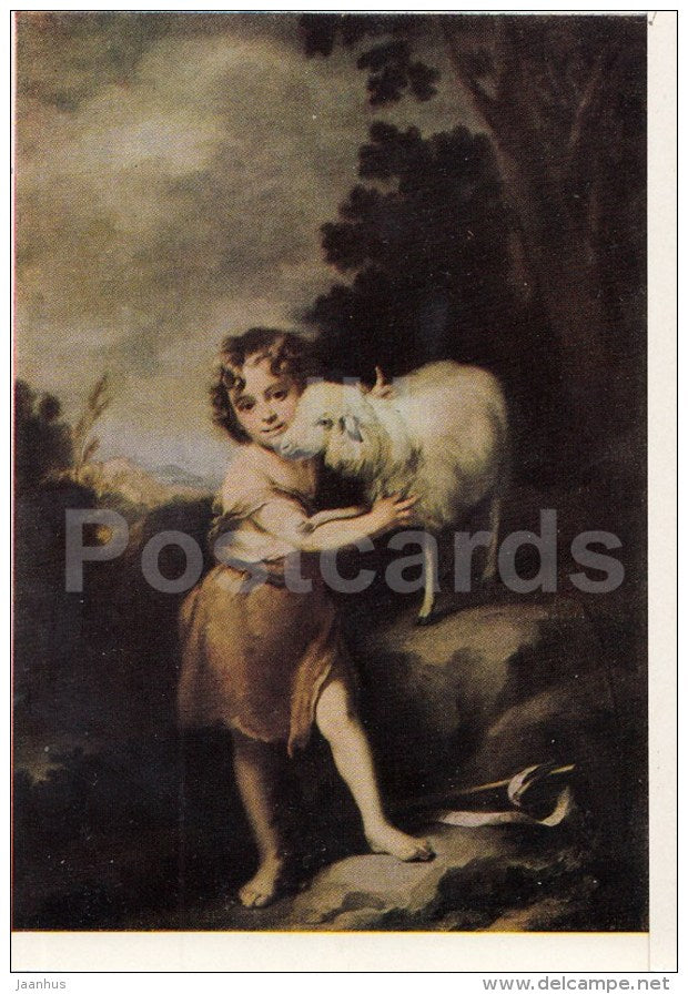 painting by Bartolome Esteban Murillo - John the Baptist with the Lamb - Spanish Art - 1963 - Russia USSR - unused - JH Postcards