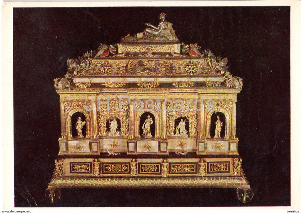 Grosser Schmuckkasten mit Silberner Bekronungsfigur - Jewelry box - art - 1966 - Germany - used - JH Postcards