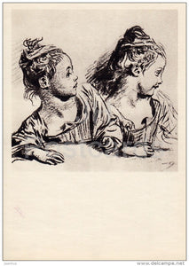 drawing by Jean-Antoine Watteau - Girl - sketch - French art - 1963 - Russia USSR - unused - JH Postcards