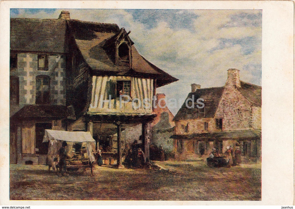 painting by Theodore Rousseau - Market in Normandy - French art - 1962 - Russia USSR - unused - JH Postcards