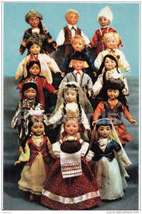 Bread and Salt Welcome - dolls in Soviet states national costumes - 1967 - Russia USSR - unused - JH Postcards