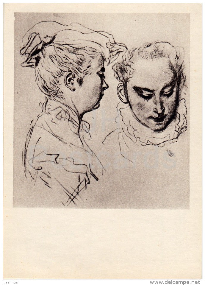 drawing by Jean-Antoine Watteau - Woman´s Head - sketch - French art - 1963 - Russia USSR - unused - JH Postcards