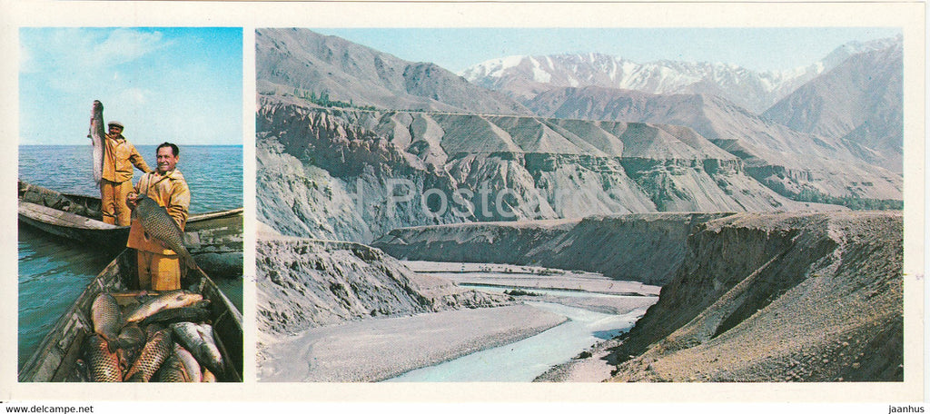Leninabad - Khujand - Tajik sea - fisherman - fish - near the city - 1979 - Tajikistan USSR - unused - JH Postcards