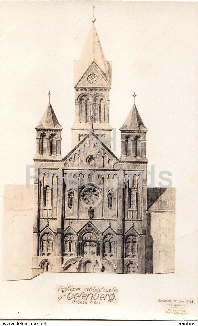 Eglise Abbatiale d'Oelenberg - church - old postcard - France - unused - JH Postcards