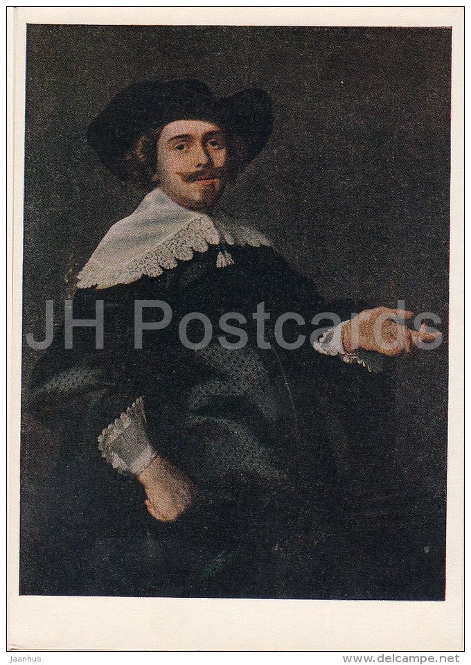 painting by Bartholomeus van der Helst - Portrait of a Man - hat - Dutch art - 1956 - Russia USSR - unused - JH Postcards