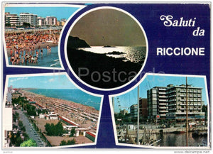 Saluti da Riccione - beach - Rimini - Emilia-Romagna - Italia - Italy - sent from Italy to Germany - JH Postcards