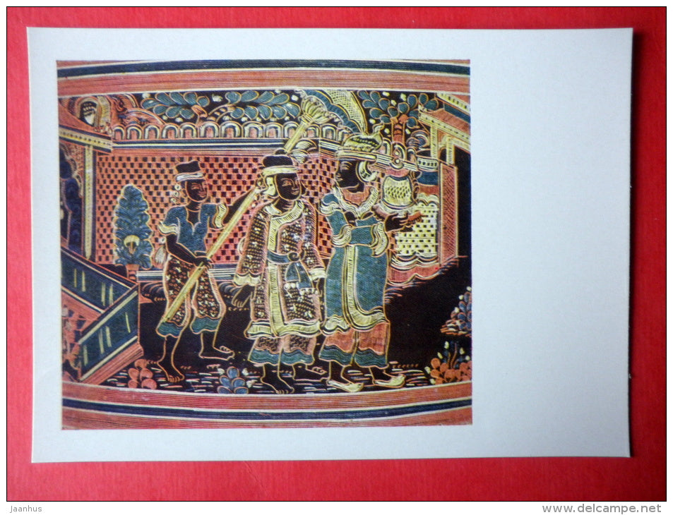 fragment of lacquer painting of the boxe , XX century - Birma - burmese art - unused - JH Postcards