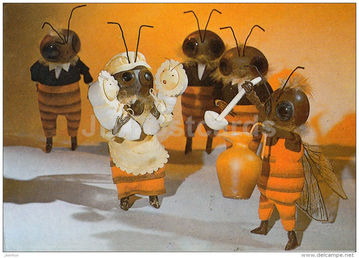 Puppet Movie - Honey Masters Town - Bee - 1990 - Estonia USSR - used - JH Postcards