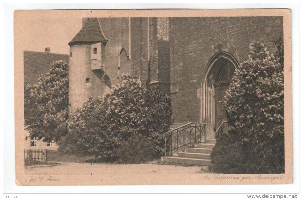Am Gotteshaus zur Blütenzeit - church - Germany - Joh. C. Horn - old postcard - circulated in Estonia - used - JH Postcards