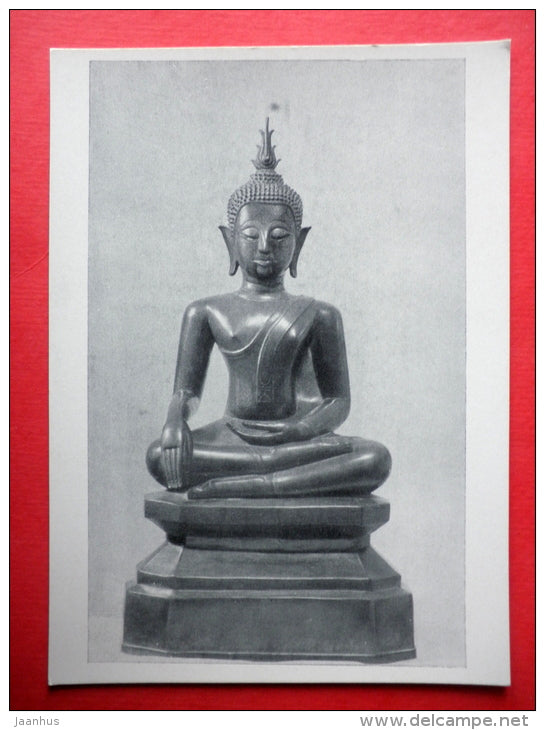 Bronze Statue of the Buddha , XIX century - Birma - burmese art - unused - JH Postcards