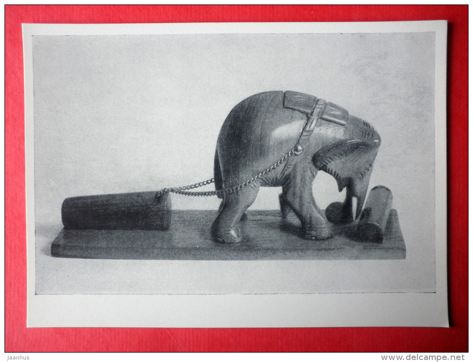 Elephant at work , wood , XX century - Birma - burmese art - unused - JH Postcards