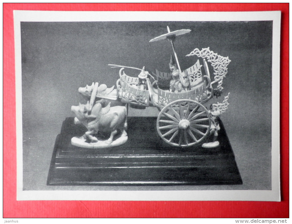 Solemn Departure , miniature sculpture made ​​of ivory , XX century - carriage - bull - Birma - burmese art - unused - JH Postcards