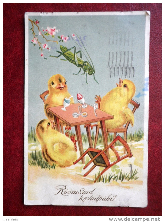 Easter Greeting Card - chicken - egg - grasshopper - MH - circulated in 1939 - Estonia - used - JH Postcards