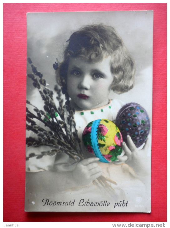 easter greeting card - eggs - catkins - child - 9675/4 - circulated in Estonia Pärnu 1927 - JH Postcards