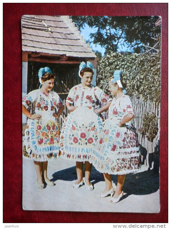 Kalocsa - Hungarian folk costumes - women - 1964 - Russia USSR - unused - JH Postcards