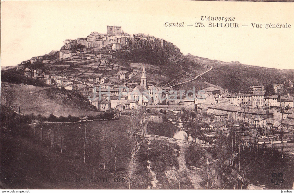 L'Auvergne - Cantal - St Flour - Vue Generale - 275 - old postcard - France - unused - JH Postcards