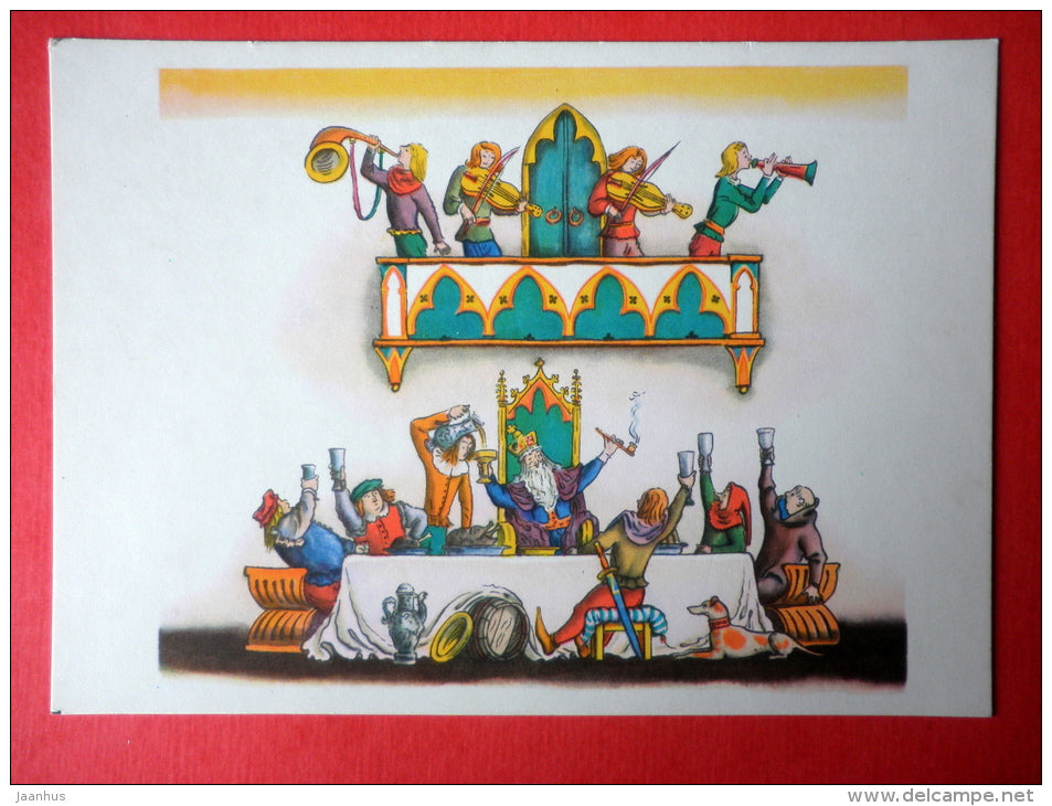 Merry King - English Folk song - musicians - Fairy Tales and Songs - 1965 - Russia USSR - unused - JH Postcards