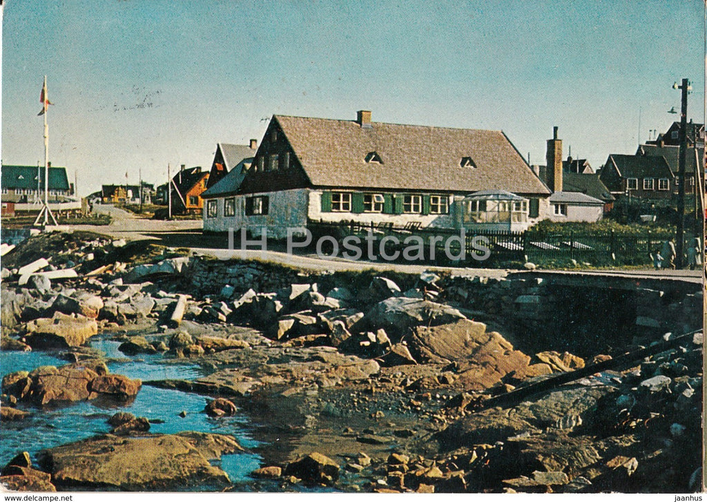 The Hans Egede House 1728 at Godthab old Harbour - KGH 33 - 1966 - Greenland - used - JH Postcards