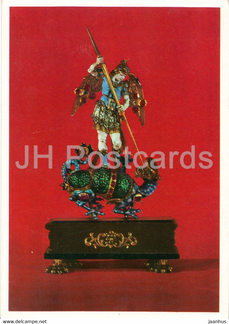 St Michael - Goldemail - Edelsteine - Jewelry - art - Germany - unused - JH Postcards