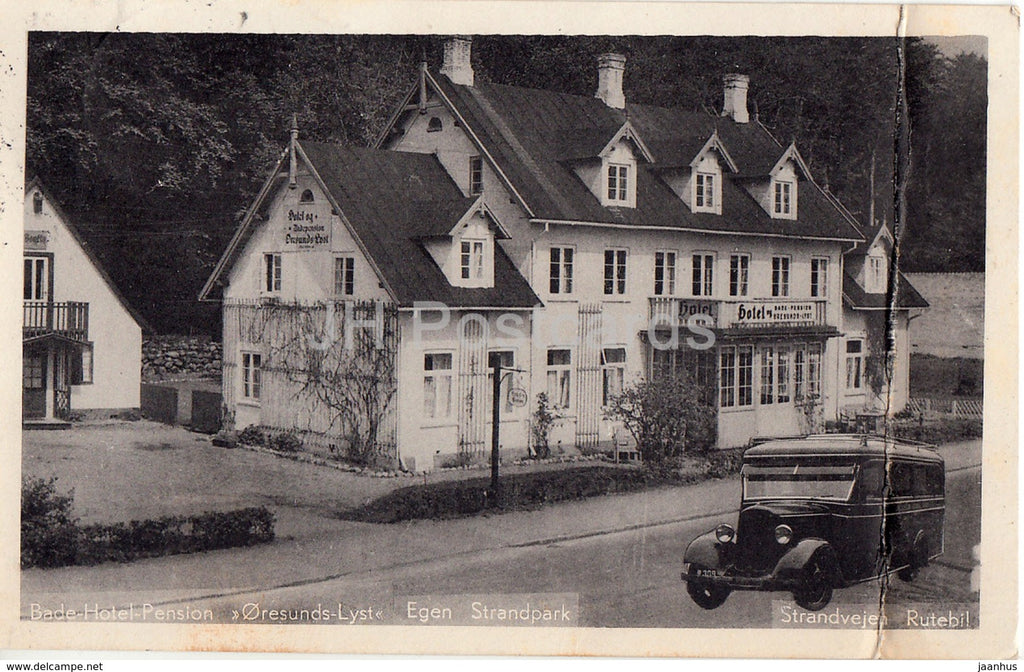Bade Hotel Pension Oresunds Lyst - Egen Strandpark - old bus - old postcard - 1937 - Denmark - used - JH Postcards