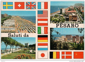 Saluti da Pesaro - beach - Pesaro - Marche - PES 165 - Italia - Italy - sent from Italy Pesaro to Germany 1981 - JH Postcards