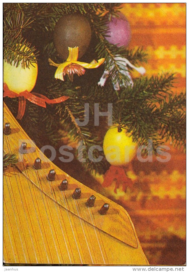 New Year Greeting card - 4 - Estonian zither - decorations - 1985 - Estonia USSR - used - JH Postcards