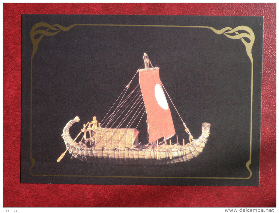 Ancient Egyptian papyrus sailing boat , ca 3000 BC - model ship - 1988 - Russia USSR - unused - JH Postcards