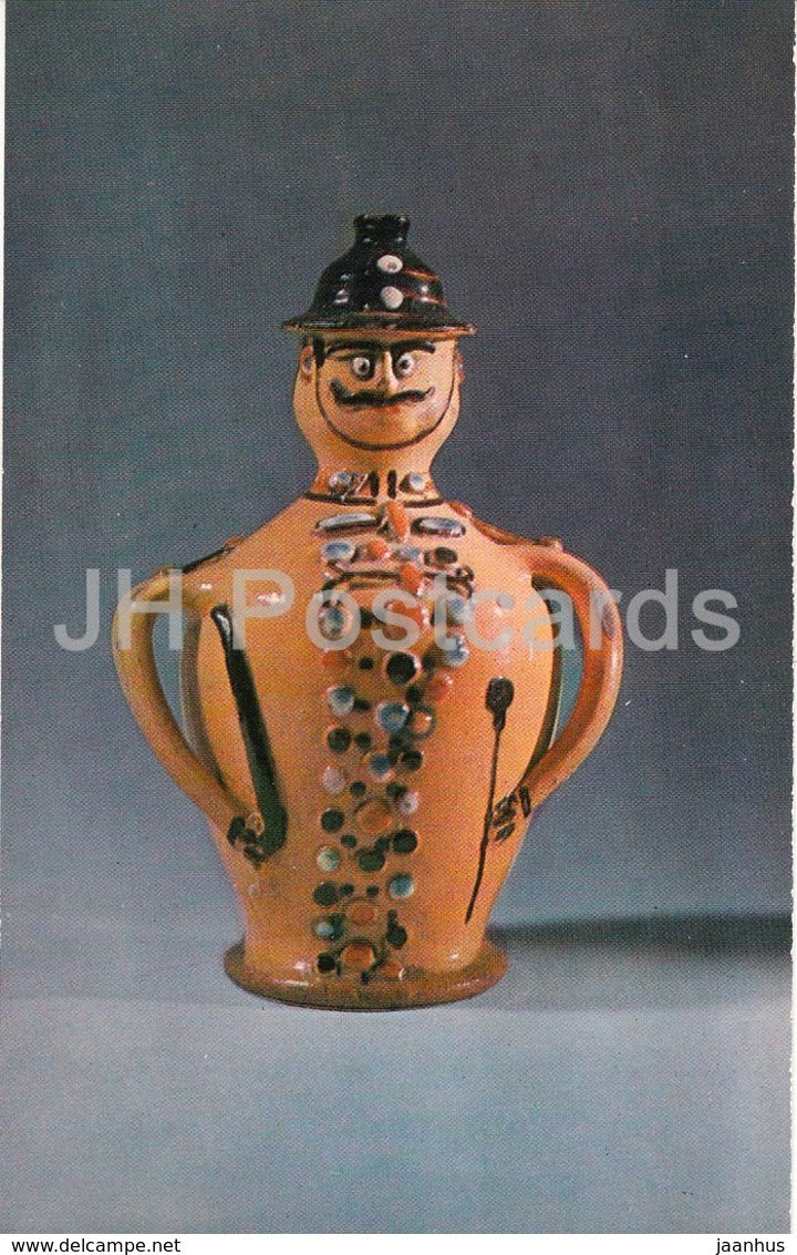 Wine Bottle - Hungary - clay - policeman - Folk Art - 1973 - Russia USSR - unused - JH Postcards