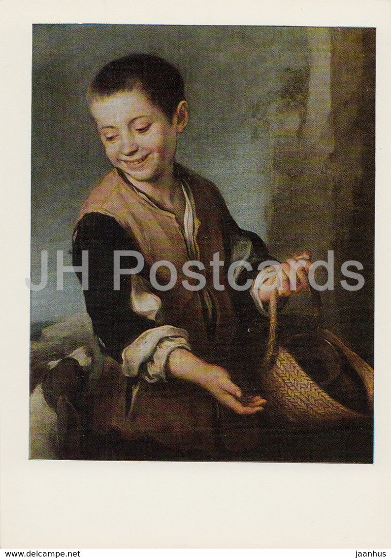 painting by Bartolome Esteban Murillo - Boy with Dog - Spanish art - 1984 - Russia USSR - unused - JH Postcards