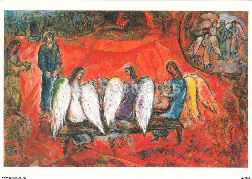 painting by Marc Chagall - Abraham et les trois Anges - Russian art - France - unused - JH Postcards