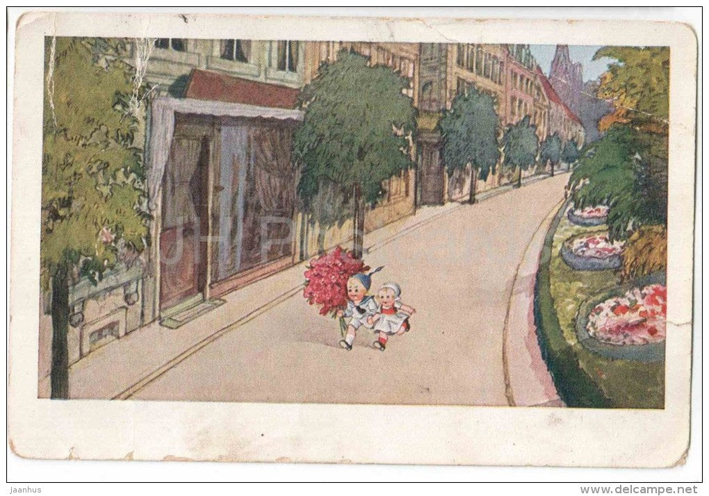 illustration - children with flowers - city street - WSSB 5840 - circulated in Estonia Pärnu-Tallinn Mail Wagon 1922 - JH Postcards
