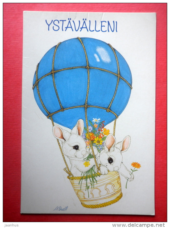 illustration by LK Powell - hare - air balloon - ED 318 - Finland - circulated in Finland - JH Postcards