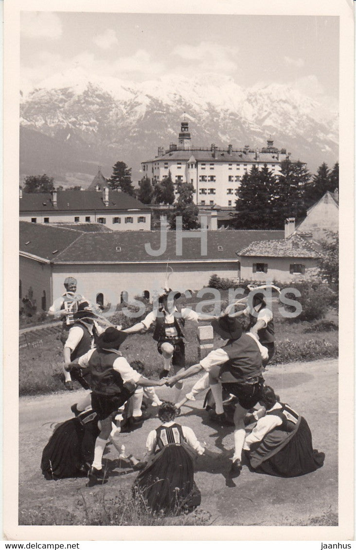 Dance Group - Austrian folk costumes - 1956 - Austria - used - JH Postcards